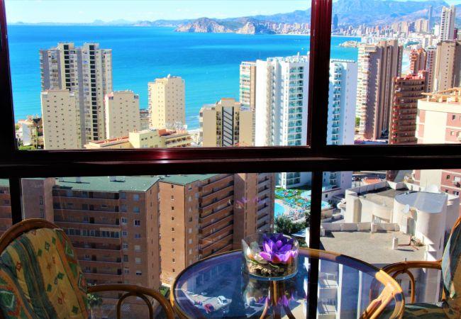 Appartement met panoramisch uitzicht op Benidorm op 10 minuten van het strand
