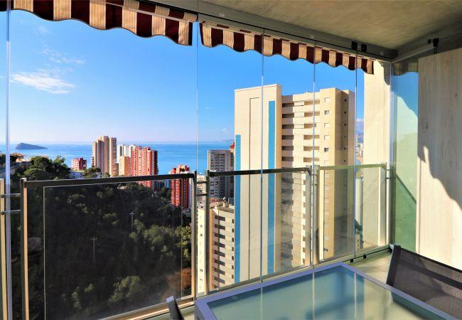 Apartment in modern skyscraper.